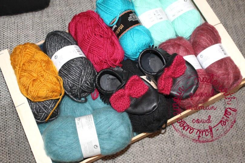 mocassins en cuir pour enfant avec noeud en laine